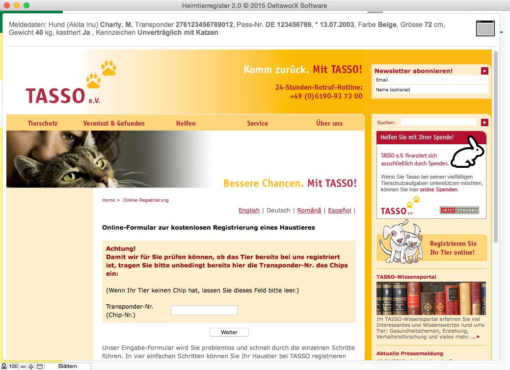 Onlineregisterung z.B. bei Tasso e.V.