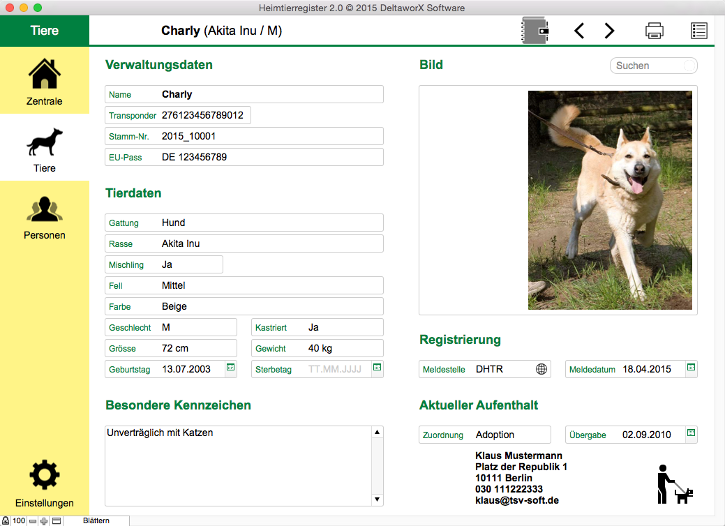 Tierdatenblatt